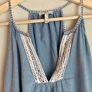 Joie Tops - Joie Embroidered Chambray Eyelet Tank Top